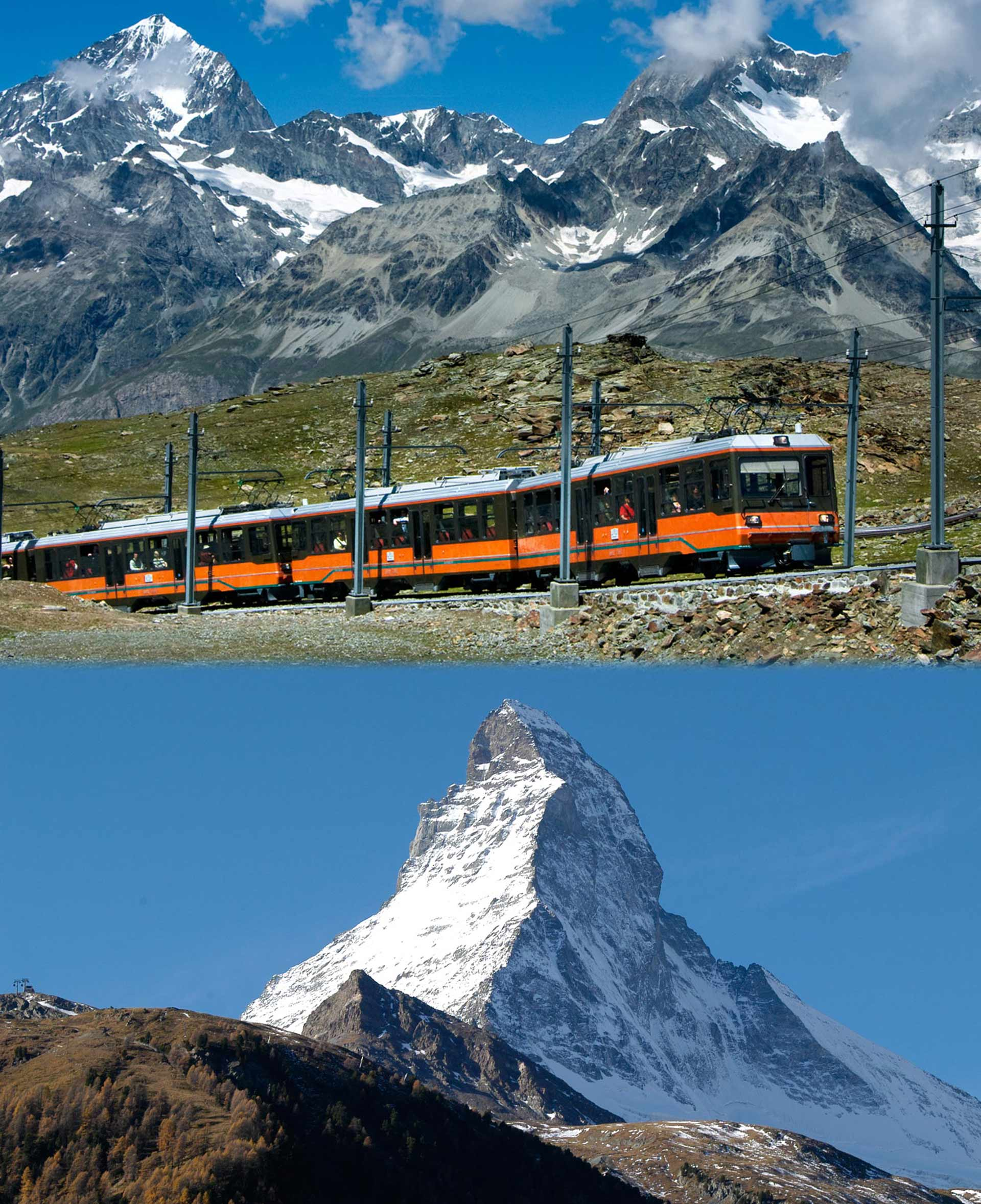The Gornergrat train goes from the village centre in Zermatt to Gornergrat (3,089 m) in 33 minutes. From this vantage point, one of the most beautiful mountain panoramas in the world opens up – with a view of the Matterhorn (4,478 m).