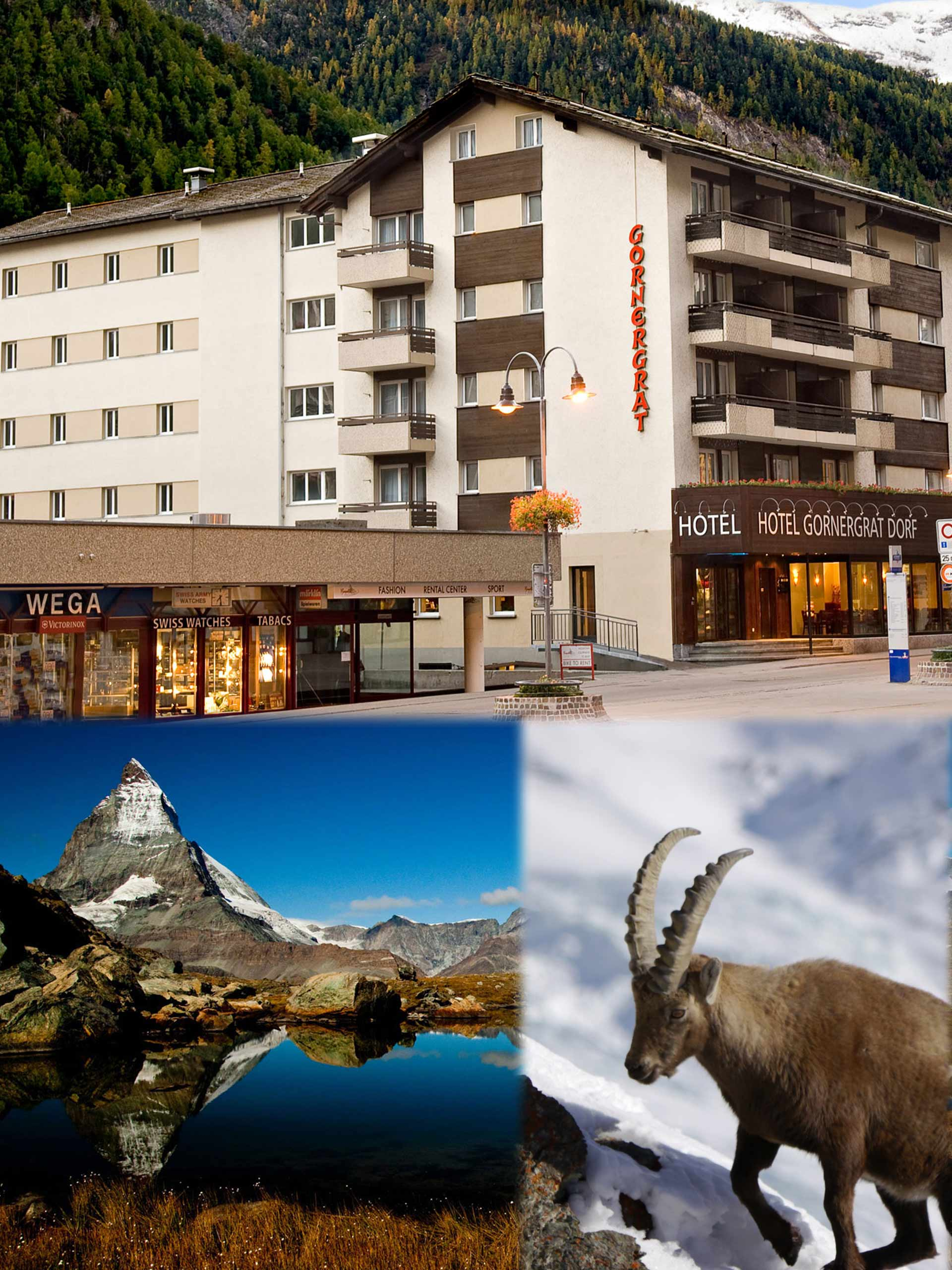 LOCATED IN THE CENTER OF ZERMATT, JUST A FEW STEPS AWAY FROM THE TRAIN STATION, YOU WILL FIND THE HOTEL GORNERGRAT DORF. IT IS ONLY 20 METERS TO GO, FOR ENTERING THE GORNERGRAT RAILWAY OR ONE OF THE ELECTRIC BUSSES IN DIRECTION TO THE SKI AREA OF KLEIN-MATTERHORN.
